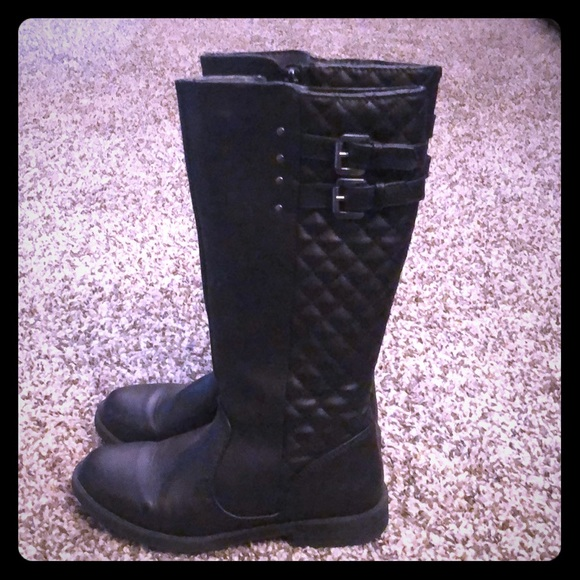 girls black boots size 1